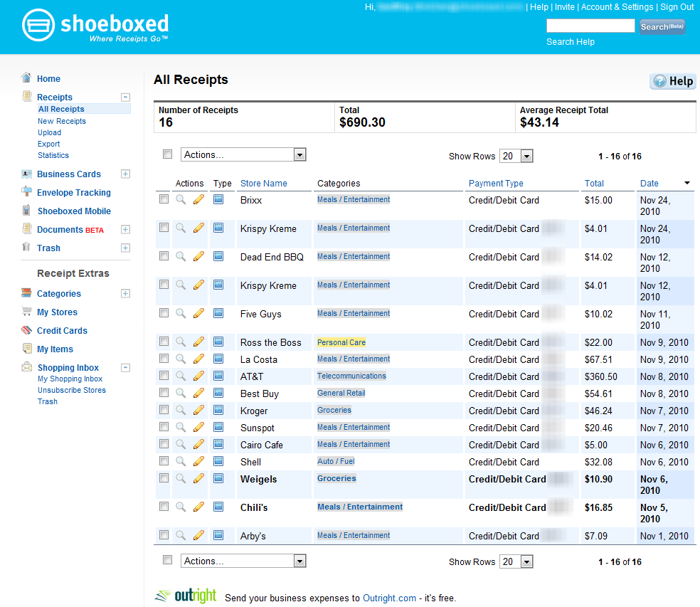 Receipt automation with Shoeboxed, Quicken, Evernote and